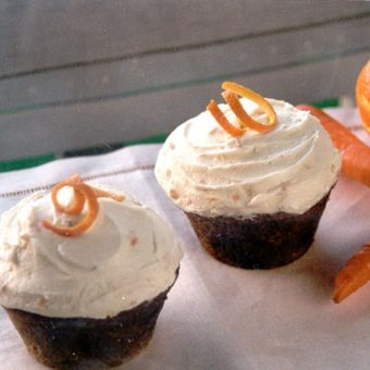Giant Carrot Cupcakes with Ginger-Orange Cream Cheese Frosting