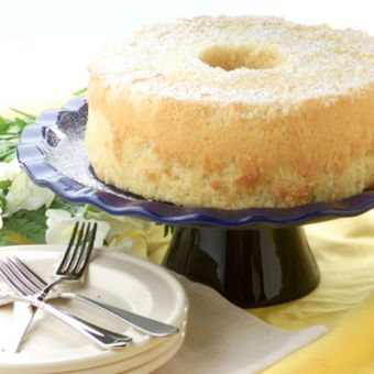 Coconut Chiffon Cake with Coconut-Cranberry Sorbet