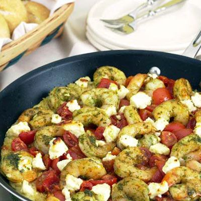 Mediterranean Shrimp with Tomatoes, Feta and Orzo