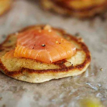 Buckwheat-Cheddar Blini with Smoked Salmon