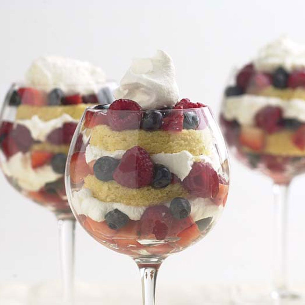 Apricot Cake and Berry Compote Trifles