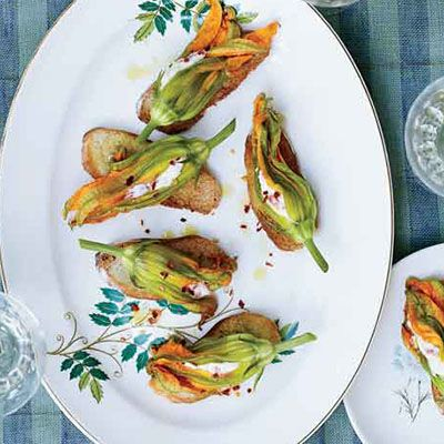 Squash Blossoms with Pimento Ricotta