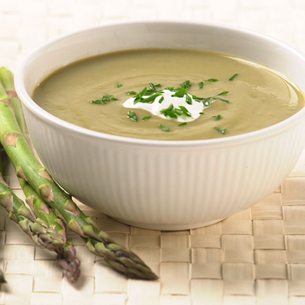 Asparagus-Leek Soup with Creme Fraiche and Chives