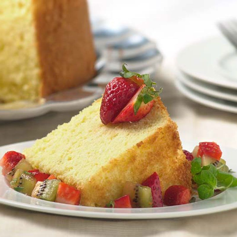 Passover Lemon Sponge Cake with Strawberry-Kiwi Compote