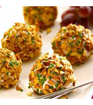 "Almond Crusted Chevre and Grape ""Truffles"""