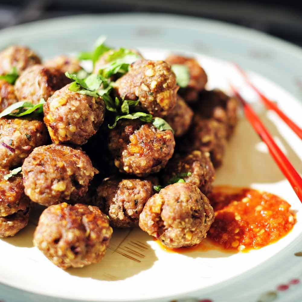 Thai Meatballs with Spicy Peanut Sauce