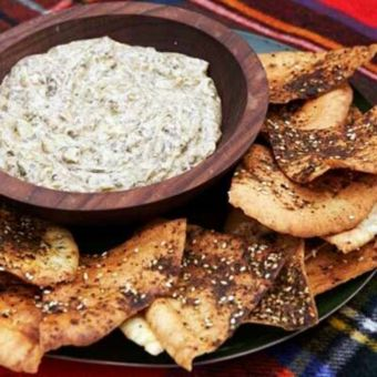 Artichoke-and-Spinach Dip with Spiced Pita Chips