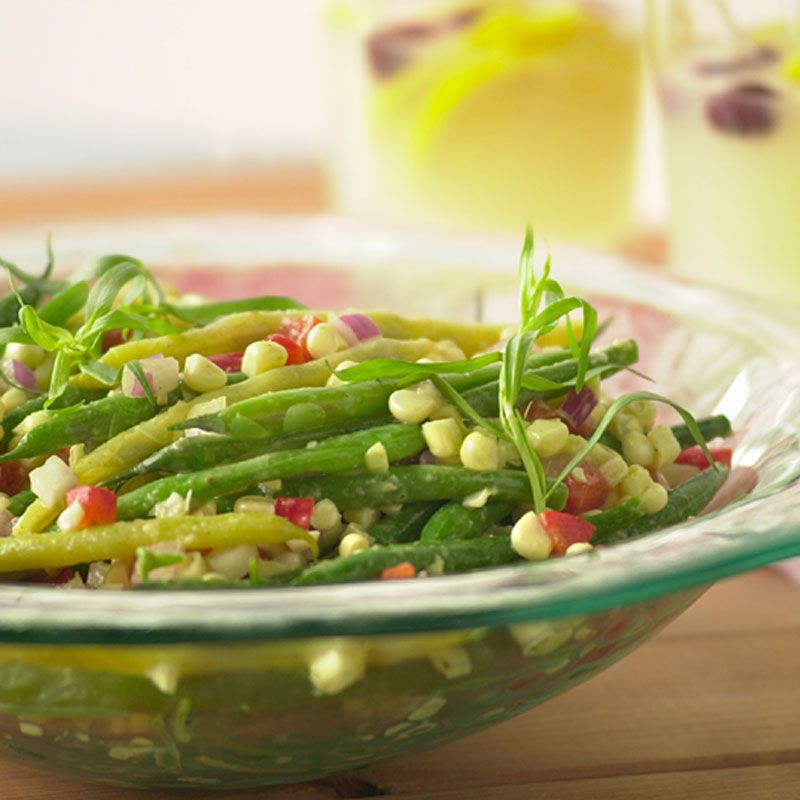 Green and Yellow Bean Salad with Sweet White Corn and Tarragon Dijon Vinaigrette