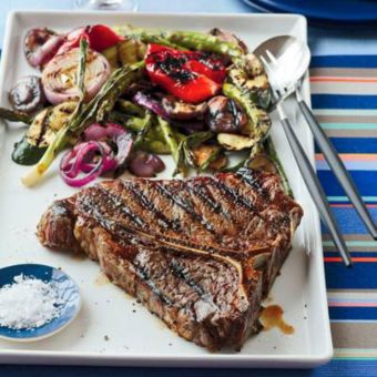 Grilled Porterhouse Steak with Summer Vegetables