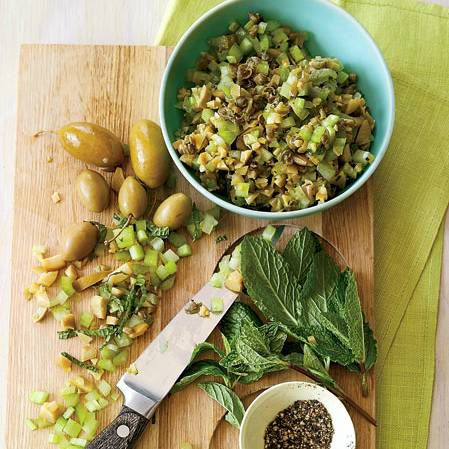 Minty Green Olive and Celery Salsa