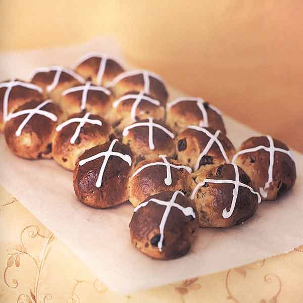 Hot Cross Buns with Dried Sour Cherries and Pistachios