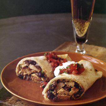 Chicken Burritos with Black Bean Salsa and Pepper Jack