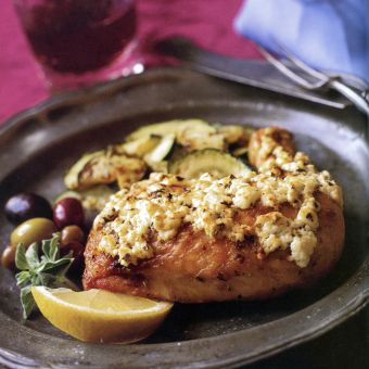 Chicken with Lemon, Oregano, and Feta Cheese