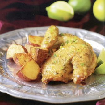 Cornish Hens with Scallion Butter and Lime