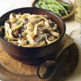 Fettuccine with Turkey and Brandied Mushrooms