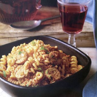 Fusilli with Spicy Chicken Sausage, Tomato, and Ricotta Cheese