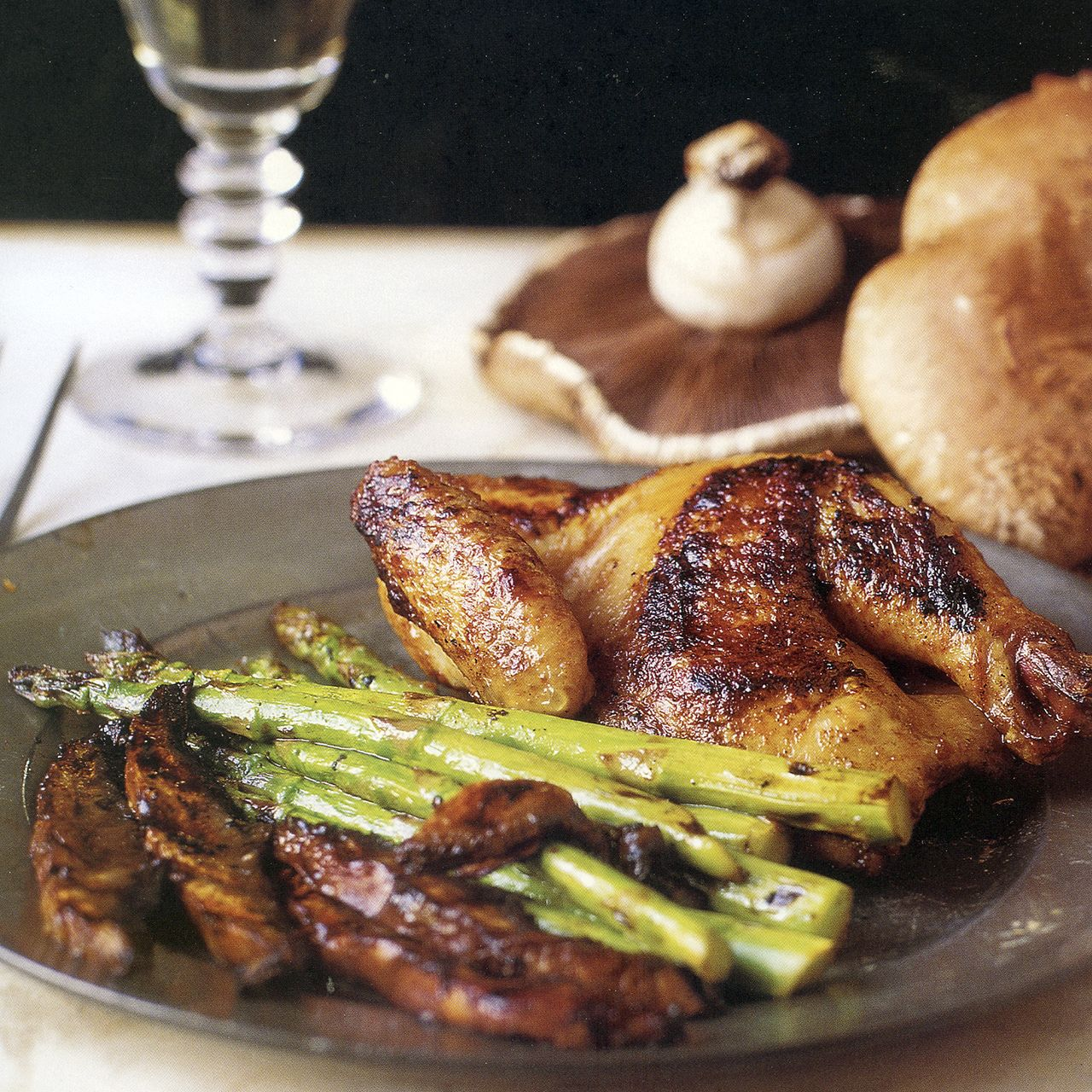 Grilled Asian Cornish Hens with Asparagus and Portobello Mushrooms