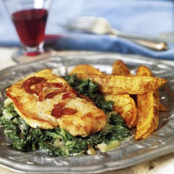 Turkey with Bacon and Greens