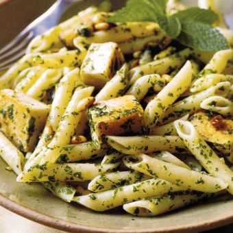 Penne with Swordfish, Mint, and Pine Nuts
