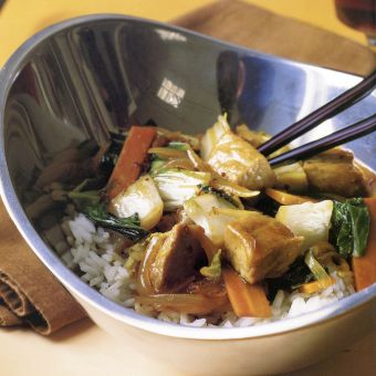 Stir-Fried Pork with Carrots and Bok Choy