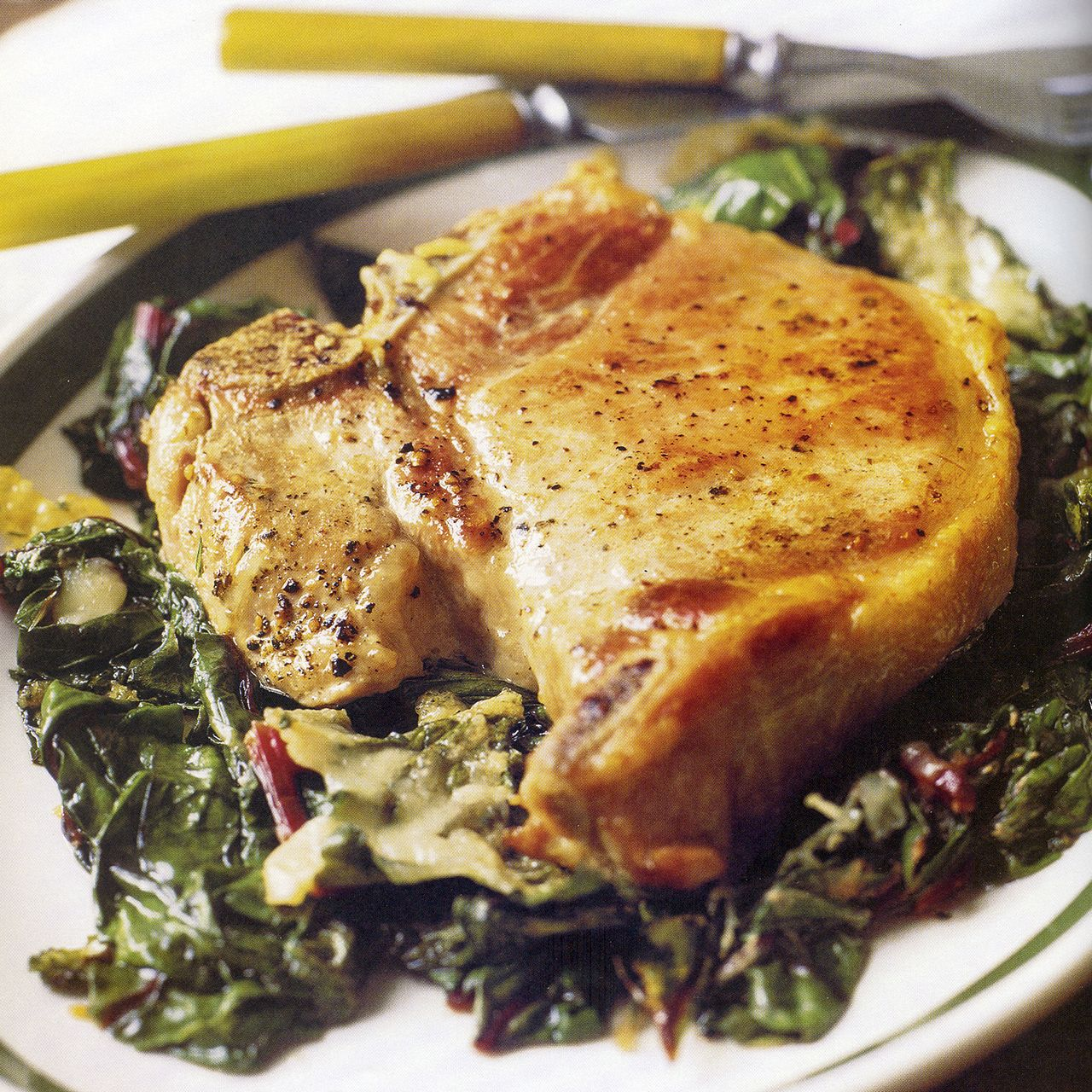 Baked Pork Chops with Swiss Chard Recipe : Cooking.com Recipes