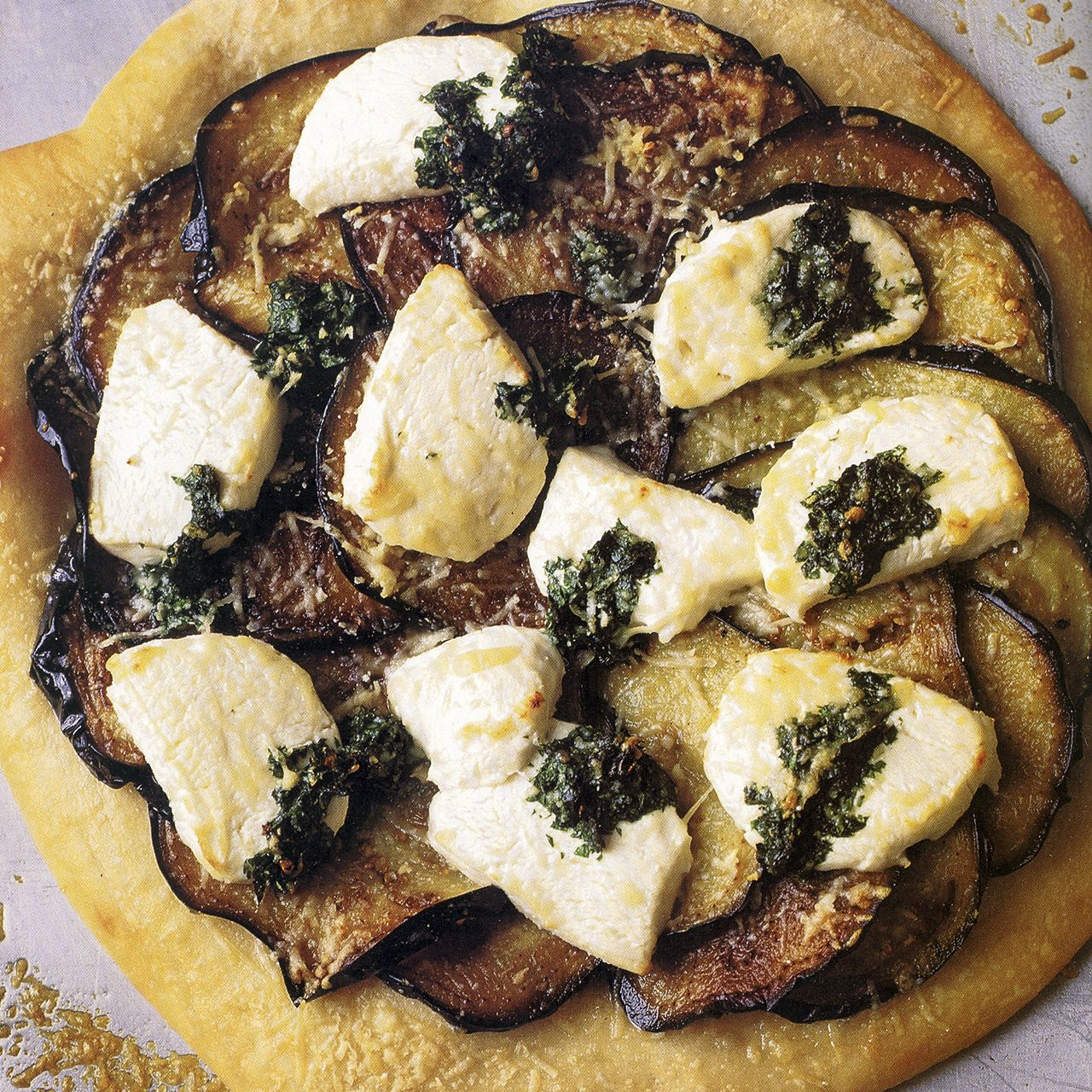 Eggplant, Pesto and Goat Cheese Pizza