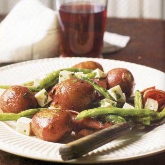 Roasted Green-Bean and Potato Salad with Soppressata and Mozzarella