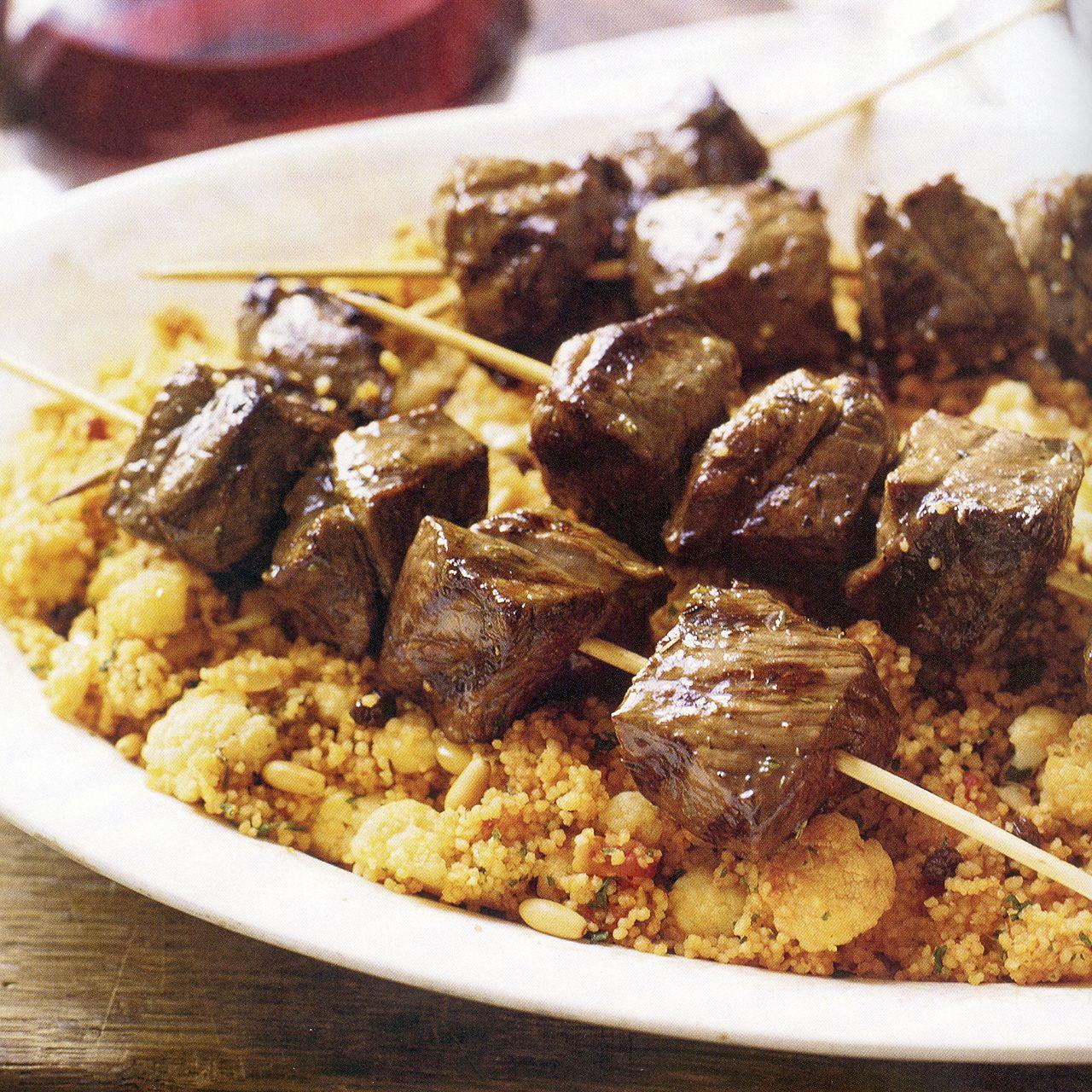 Sardinian Lamb Kabobs over Couscous