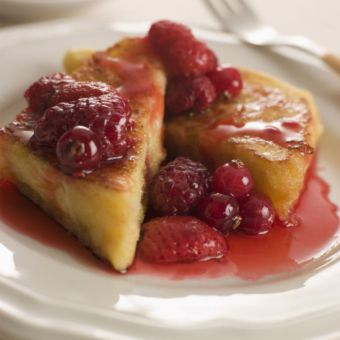 Baked French Toast with Raspberry Preserves and Toasted Almonds