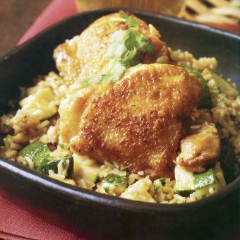 Indonesian Coconut Rice with Chicken and Zucchini