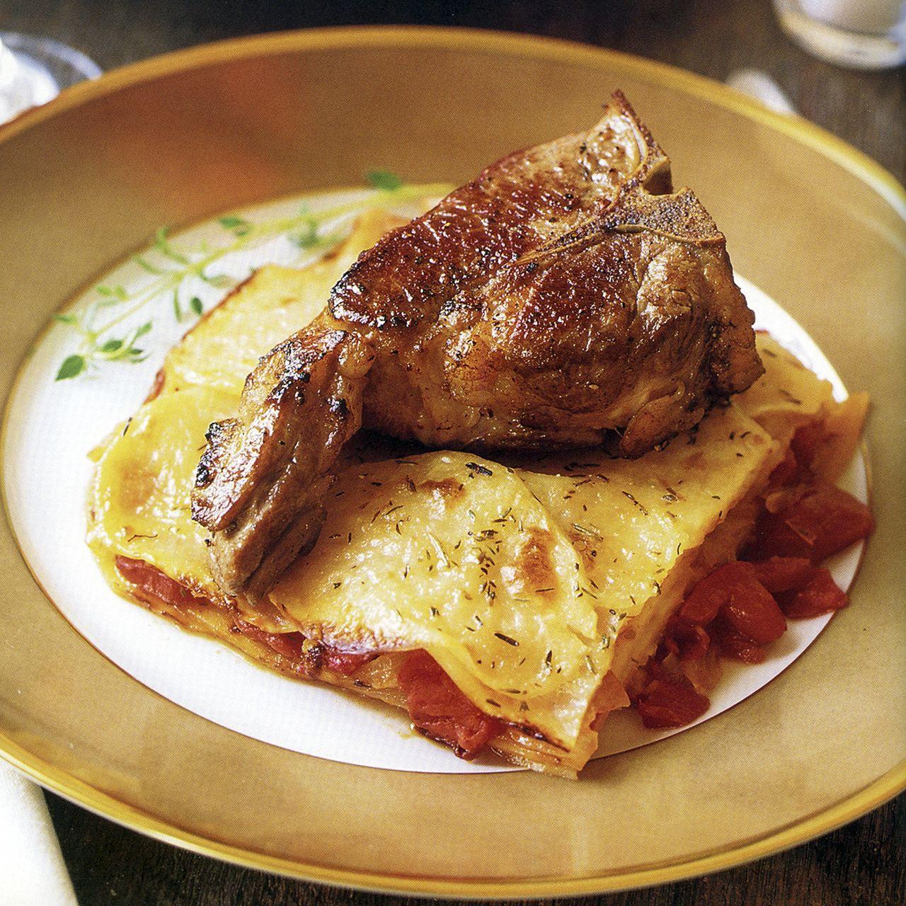 Lamb Chops with Tomato-and-Potato Gratin