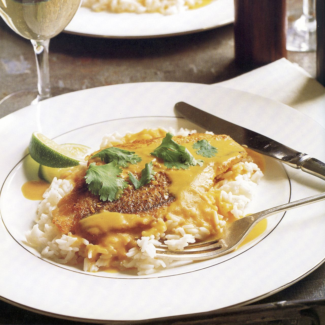 Red Snapper on Rice with Red-Curry Carrot Sauce