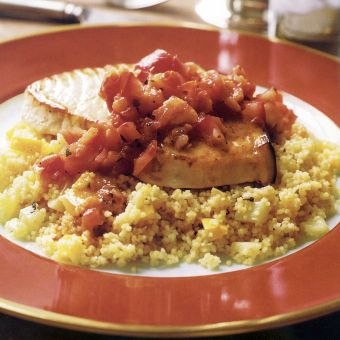 Swordfish with Vegetable Couscous and Tomato Vinaigrette
