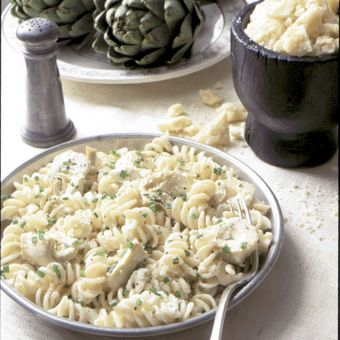 Fusilli with Artichoke Hearts and Parmesan Cream