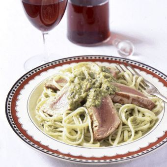 Linguine with Seared Tuna and Green-Olive Tapenade