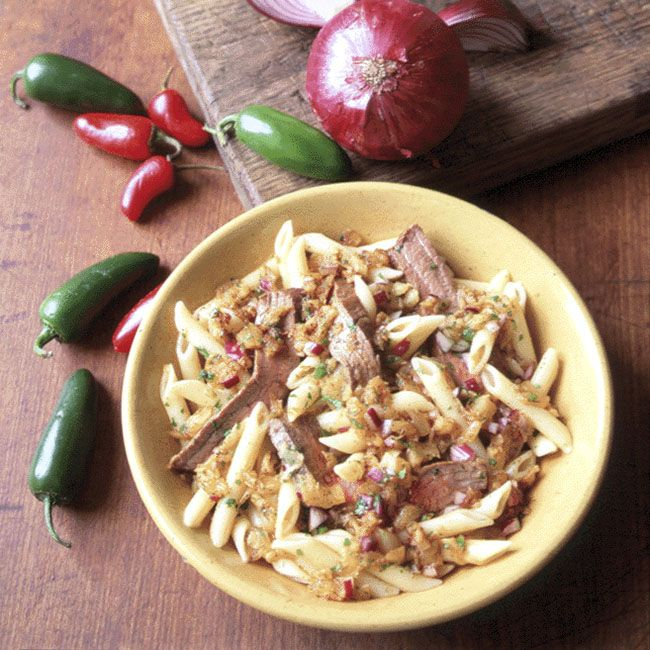 Penne with Chili-Rubbed Flank Steak and Pineapple Salsa