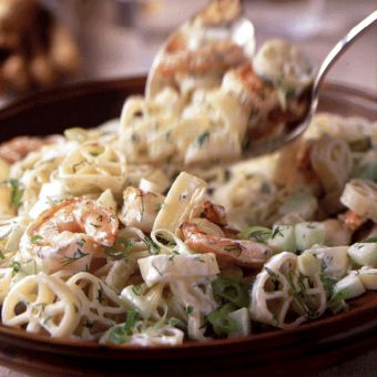 Rotelle and Shrimp with Yogurt Dill Dressing