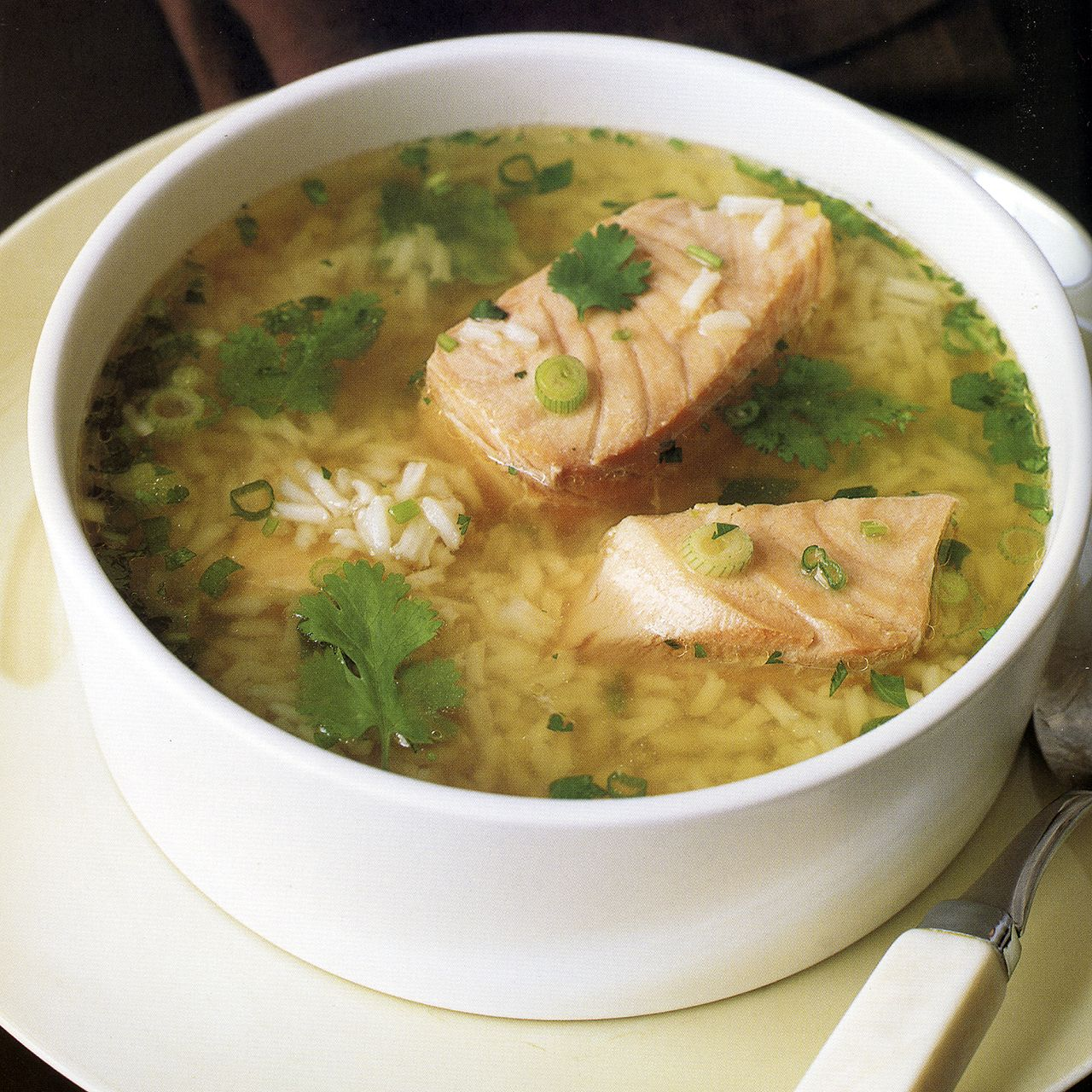 Asian Salmon and Rice Soup