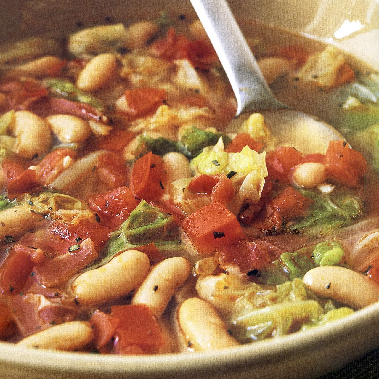 Cabbage and White Bean Soup with Prosciutto