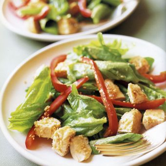 Chicken and Spinach Salad with Toasted Sesame Dressing