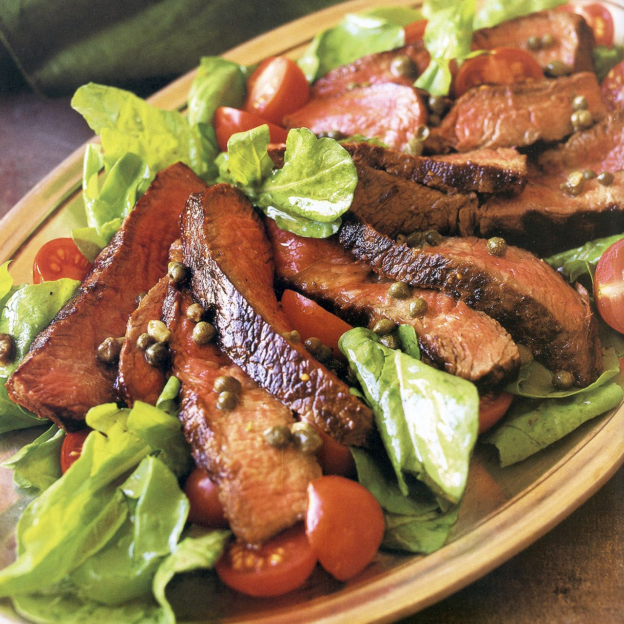 Grilled Steak and Arugula Salad with Mustard Caper Vinaigrette