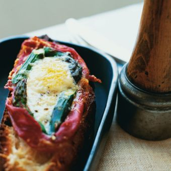 Baked Eggs with Spinach, Asparagus and Prosciutto
