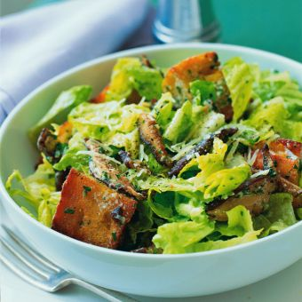 Caesar Salad with Shiitake Mushrooms