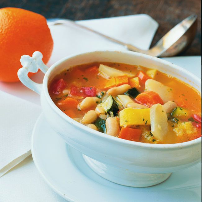 Carrot, Squash and Jerusalem Artichoke Soup with White Beans