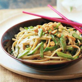 Linguine with Snow Peas, Cucumber and Peanut Sauce