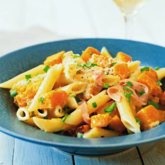 Penne with Roasted Butternut Squash and Ham