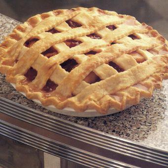 Fresh Peach and Rhubarb Pie