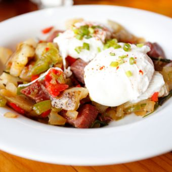 Corned Beef Hash with Poached Eggs
