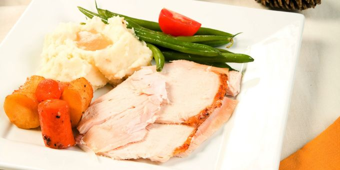 Roast Turkey with Mashed Potatoes and Gravy