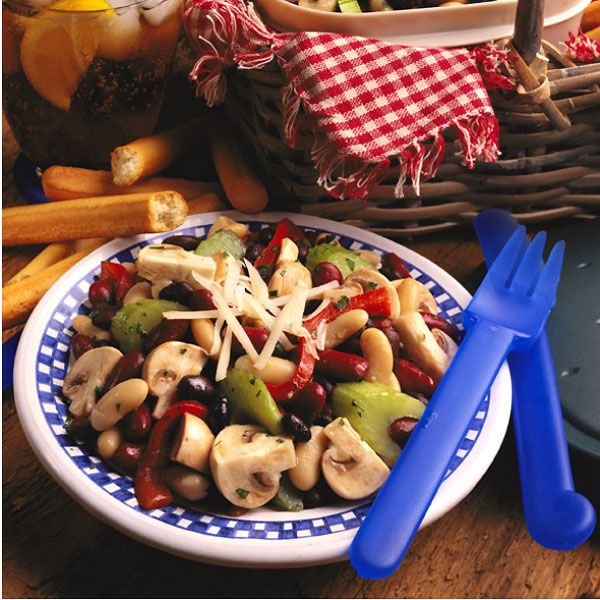 Fresh Mushroom Three Bean Salad